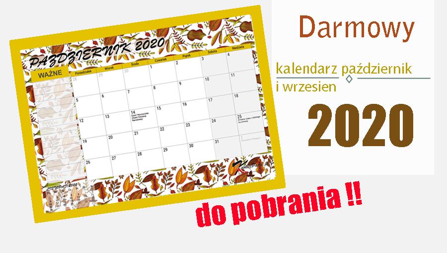 kalendarz wrzesień i pażdziernik